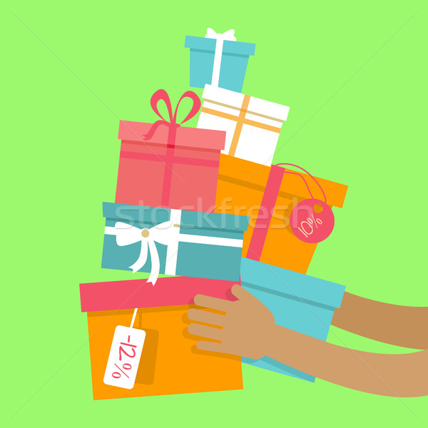 Holiday Sales Vector Concept in Flat Design Stock photo © robuart