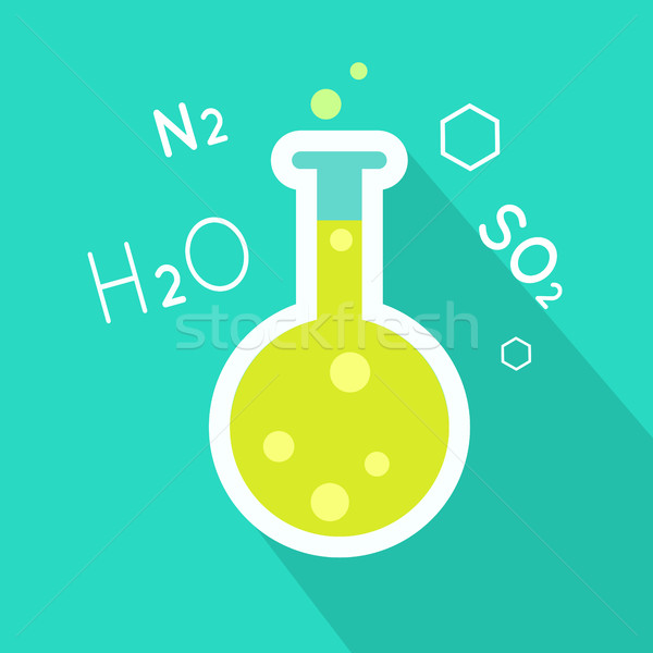 Laboratory Flask Illustration in Flat Style Design Stock photo © robuart