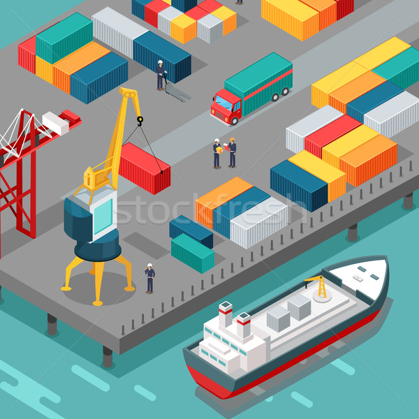 Container Terminal. Platform Supply Vessel. Vector Stock photo © robuart