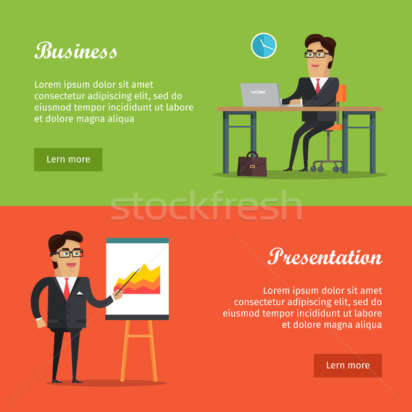 Set of Vector Business Web Banners in Flat Design Stock photo © robuart