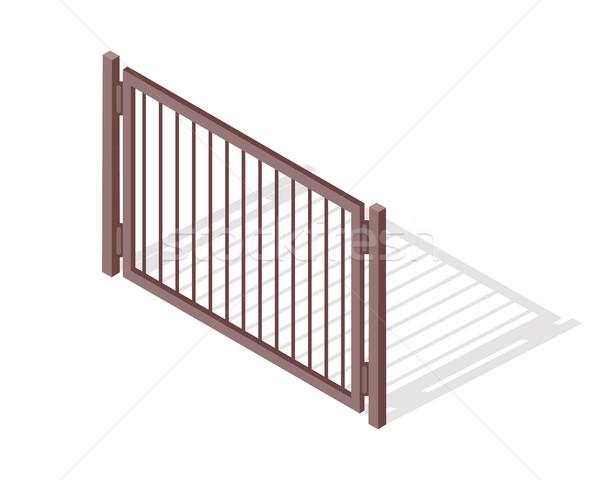 çelik çit bölüm vektör izometrik projeksiyon Stok fotoğraf © robuart