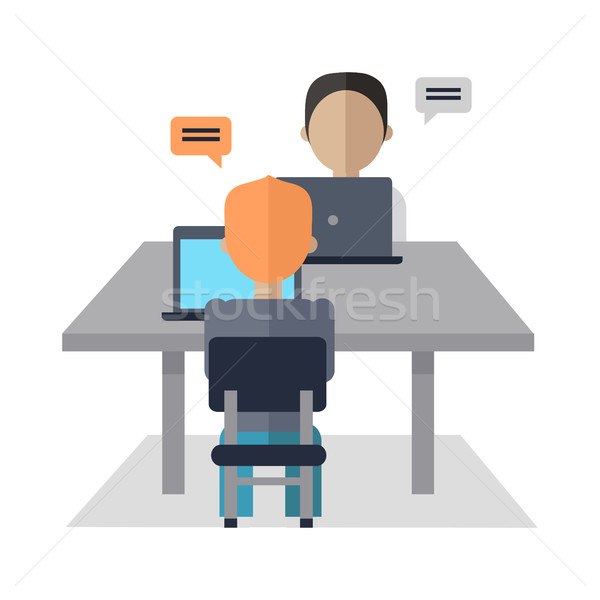 People Sit at Table and Discuss Business Issues. Stock photo © robuart
