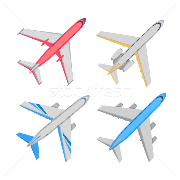 Aeronave topo ver vetor ilustrações conjunto Foto stock © robuart