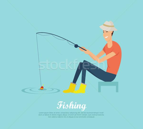 Fishing Conceptual Flat Design Vector Banner Stock photo © robuart