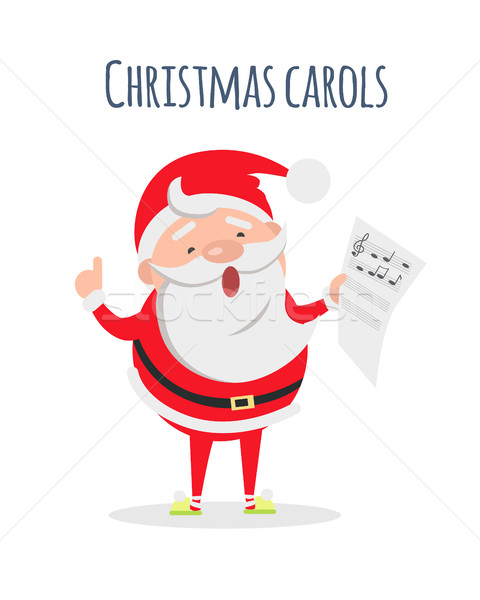 Santa Claus Sing Xmas Carols. Singer Actor Stock photo © robuart