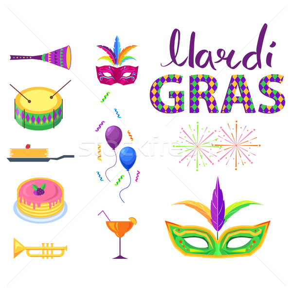 Mardi Gras Poster with Colorful Carnival Symbols Stock photo © robuart