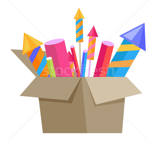 Carton Box Full of Pyrotechnics Isolated on White Stock photo © robuart