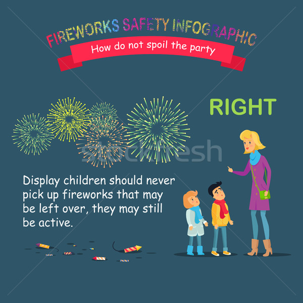 Fireworks Safety Infographic, Teaching Children Stock photo © robuart