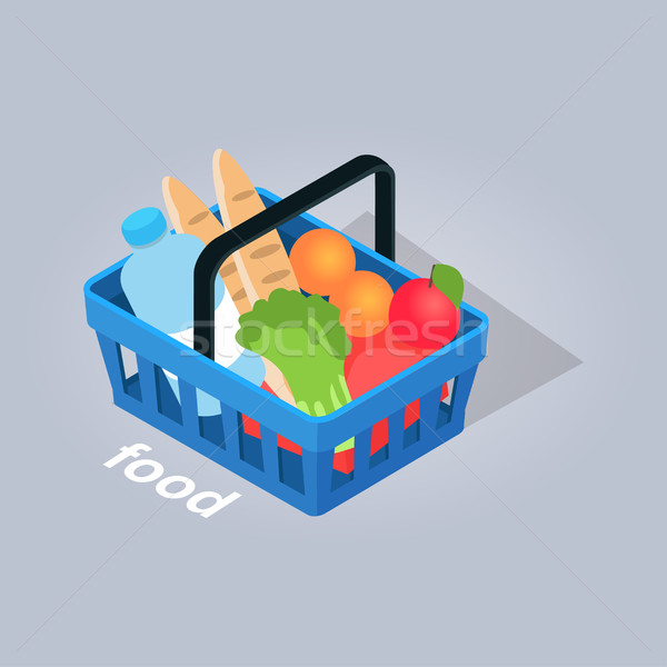 Food in Basket From Grocery Store Illustration Stock photo © robuart
