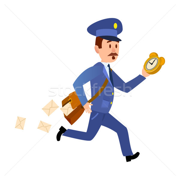 Running Mailman Hurries to Deliver Mails. Vector Stock photo © robuart