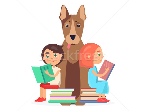 Girl and Boy Sits on Two Pile of Books with Dog Stock photo © robuart