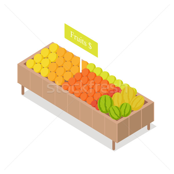 Stock photo: Fruits in Groceries Showcase Isometric Vector