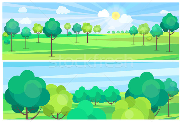 Picturesque Scenery Landscape with River and Trees Stock photo © robuart