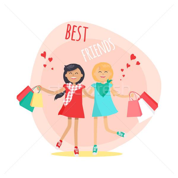 Heureux filles amis toujours coloré Photo stock © robuart