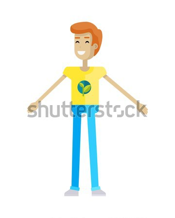 Man in Casual Cloth Wears Checkered T-shirt, Jeans Stock photo © robuart