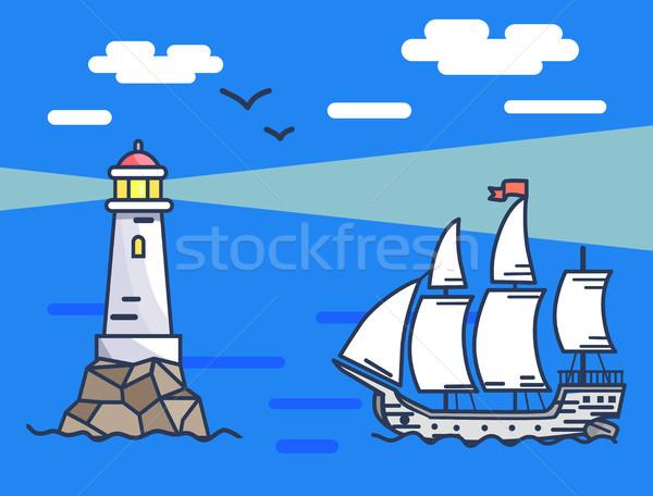 Bannière phare navire mer calme Photo stock © robuart
