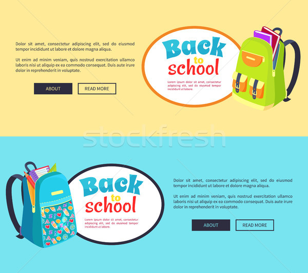 Back to School Posters with Open Schoolbag, Books Stock photo © robuart