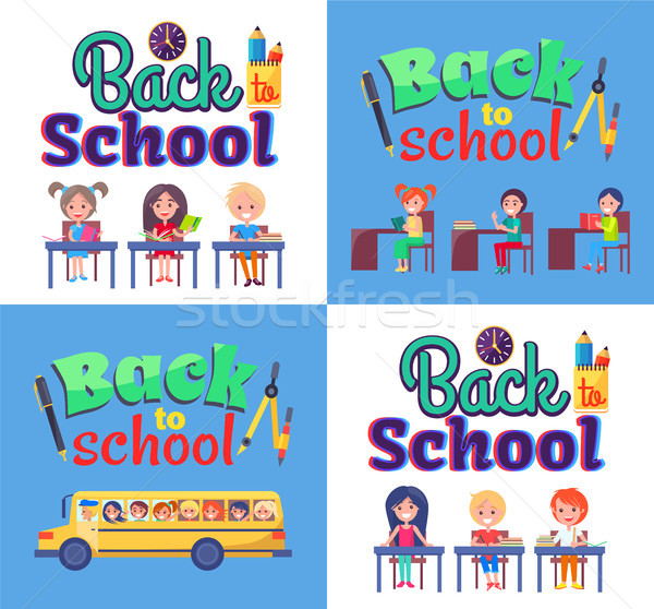 Back to School Poster with Stationary and Pupils Stock photo © robuart