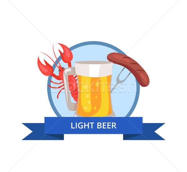 Világos sör logo üveg sör hab buborék Stock fotó © robuart