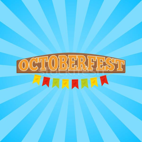 Oktoberfest promo banner titolo legno stile Foto d'archivio © robuart