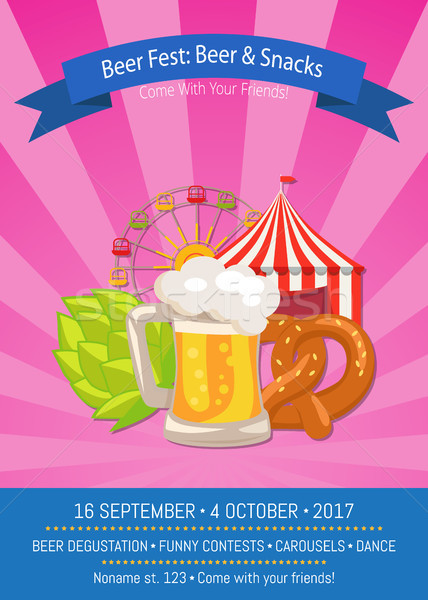 Beer Fest Poster with Snacks Vector Illustration Stock photo © robuart