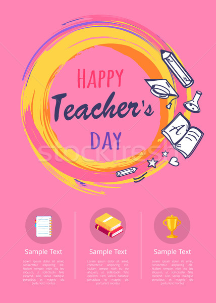 Felice insegnanti giorno poster icone cancelleria Foto d'archivio © robuart