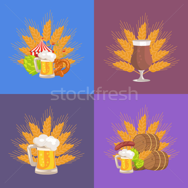 Four Sets of Beer Presentation Vector Illustration Stock photo © robuart