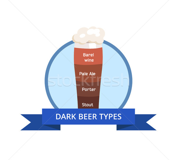 Dark Beer Types Logo Barrel Wine, Pale Ale, Porter Stock photo © robuart