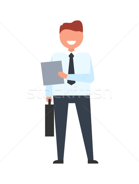 Empresário caso ícone sorridente dobrador um Foto stock © robuart