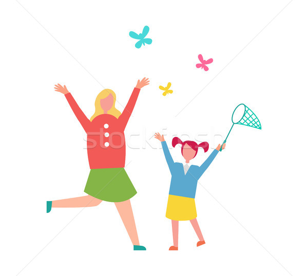 Stock photo: Mother and Child Catching Butterflies Illustration