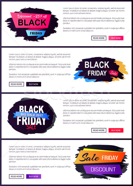 Black friday Set Web Plakate Verkauf Etiketten Stock foto © robuart