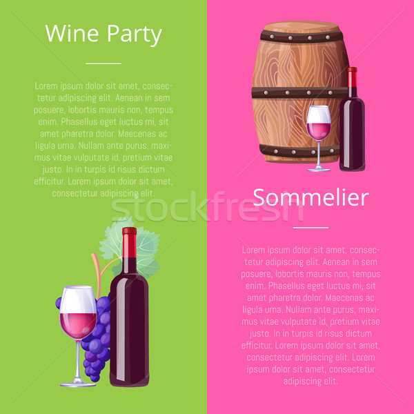 Wine Party and Sommelier Vector Illustration Icons Stock photo © robuart