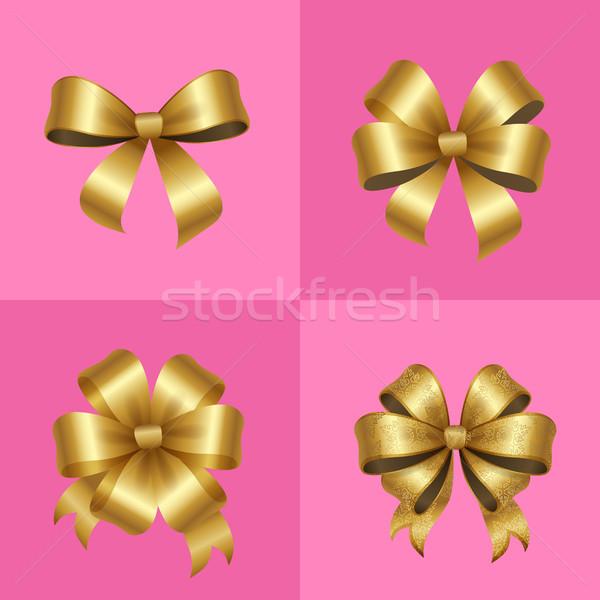 Złota dekoracyjny zestaw odizolowany różowy Zdjęcia stock © robuart