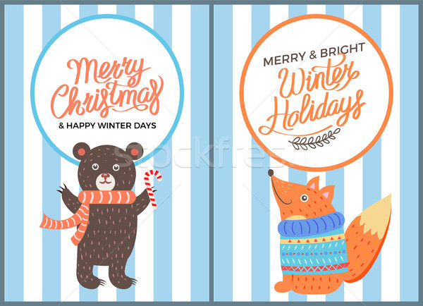 Joyeux icône ours Fox Noël heureux Photo stock © robuart