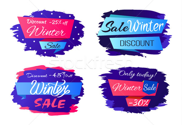Sale Winter Discounts Special Offer Promo Labels Stock photo © robuart