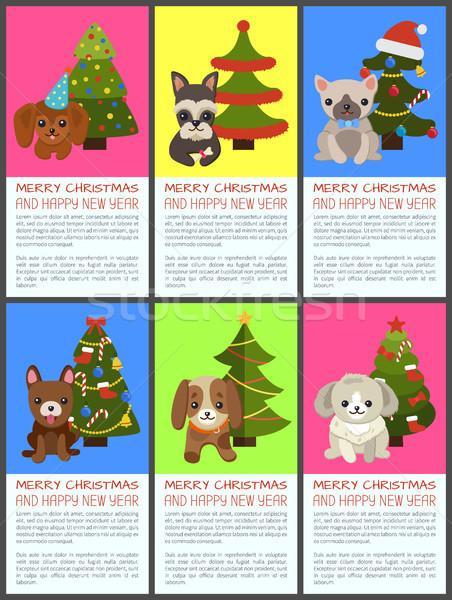 Heiter Weihnachten glückliches neues Jahr Haustiere Fichte Set Stock foto © robuart