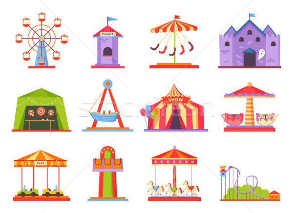 Park of Attractions Collection Vector Illustration Stock photo © robuart
