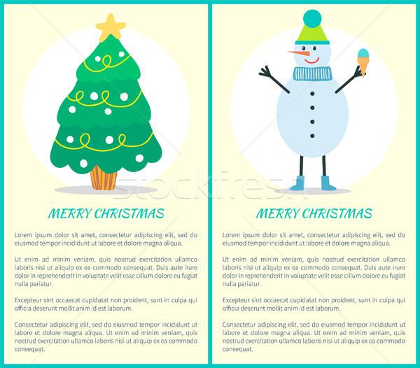 Stok fotoğraf: Neşeli · Noel · posterler · ağaç · kardan · adam · ayarlamak
