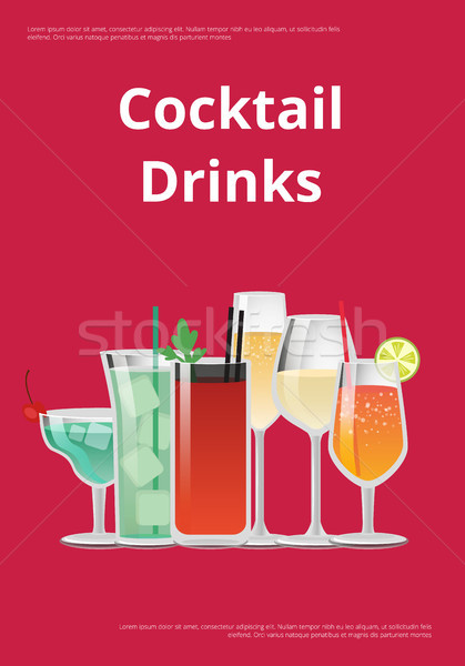 Stockfoto: Cocktail · dranken · reclame · poster · iconen · alcohol