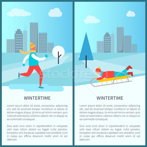 Wintertime Activities Posters Vector Illustration Stock photo © robuart