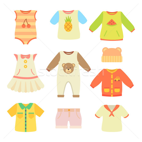 Baby Clothes Poster Collection Vector Illustration Stock photo © robuart