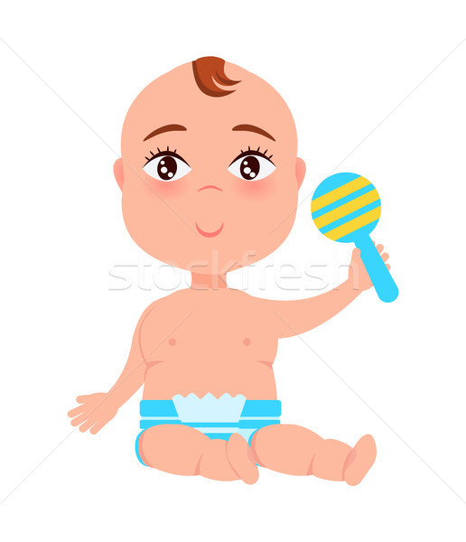 Infant with Plastic Rattle in Hand Sitting Vector Stock photo © robuart