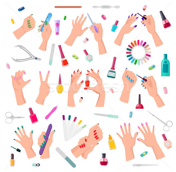 Nail Service Collection Poster Vector Illustration Stock photo © robuart