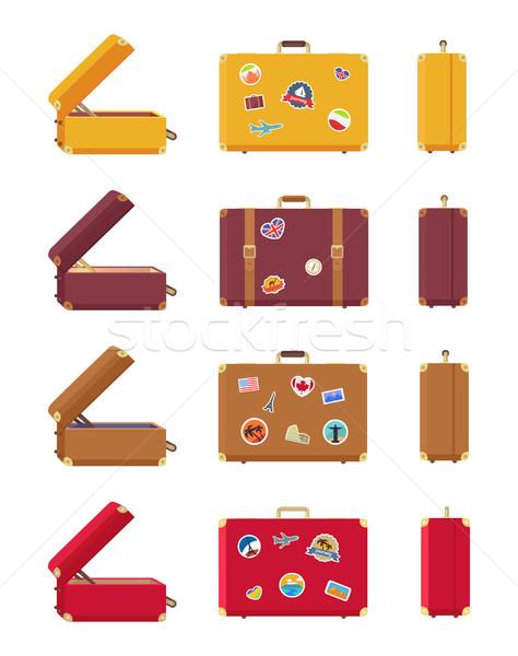 ストックフォト: セット · スーツケース · 赤 · 黄色 · ライラック
