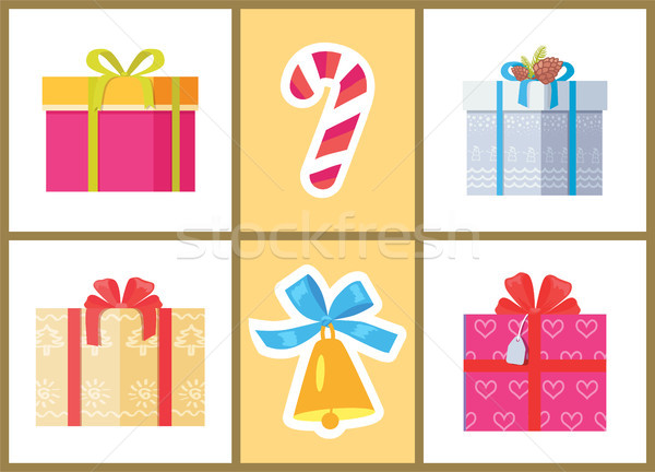 Box Decorated by Ribbon, Sweet Candy Package Cones Stock photo © robuart