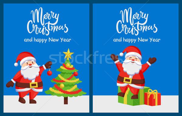 Alegre Navidad feliz año nuevo árbol carteles Foto stock © robuart