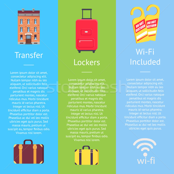 Transfer, Locker and Wi-Fi Set of Hotel Posters Stock photo © robuart