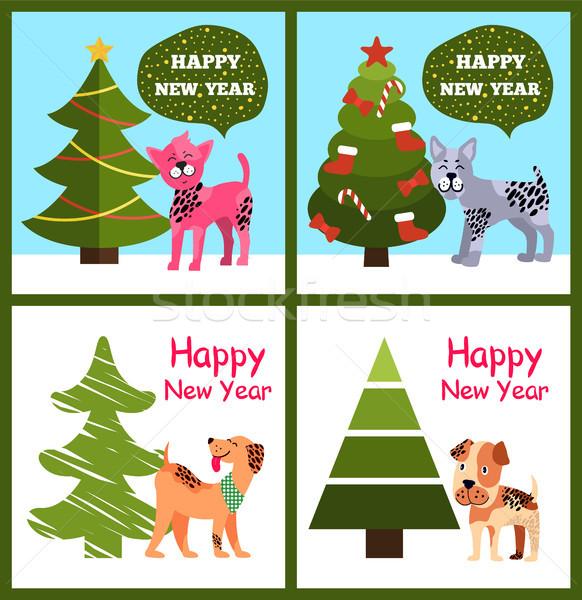 Vicces rajz kutyák kívánságok boldog új évet buborék Stock fotó © robuart