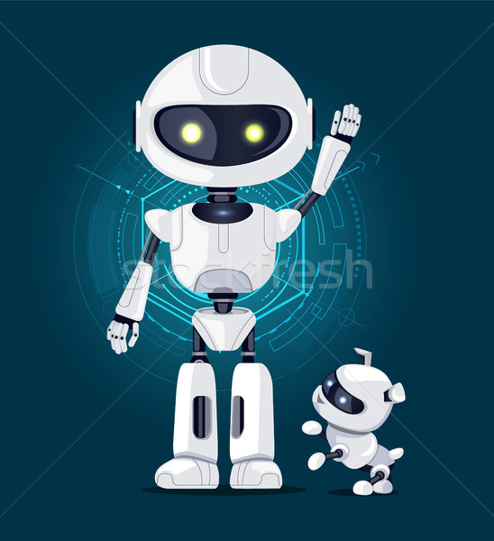 Robot and Dog with Interface Vector Illustration Stock photo © robuart