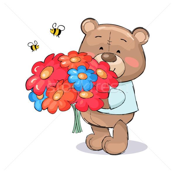Plüssmaci virágcsokor színes virágok rajz rózsaszín Stock fotó © robuart